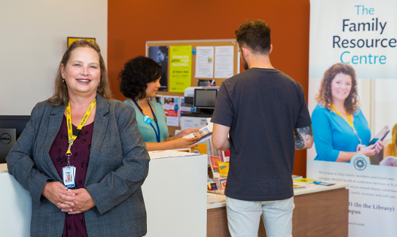 Hélène Hamilton, Chair, Patient and Family Advisory Council in the Family Resource Centre at West 5th Campus. The Family Resource Centre offers tailored information to help family and friends supporting loved ones struggling with mental illness or addiction issues.