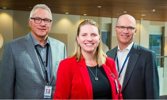 From left to right: Mr. Adriaan Korstanje, Chair, St. Joseph's Hamilton Joint Boards of Governors; Ms. Melissa Farrell, President, St. Joseph's Healthcare Hamilton; Dr. Thomas Stewart, President and Chief Executive Officer, St. Joseph's Health System, and Chief Executive Officer, Niagara Health.