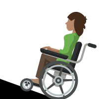 Woman in wheelchair going up a ramp