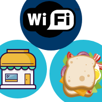 Wi-fi symbol, gift shop, and sandwich