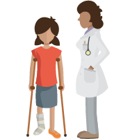 Child with crutches and doctor beside child